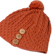 Ladies Merino Wool Button Detail Hat with Bobble by Aran Mills - 9 Colours