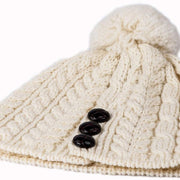 Ladies Merino Wool Hat with Bobble by Aran Mills - 11 Colours