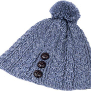 Ladies Merino Wool Hat with Bobble by Aran Mills - 10 Colours