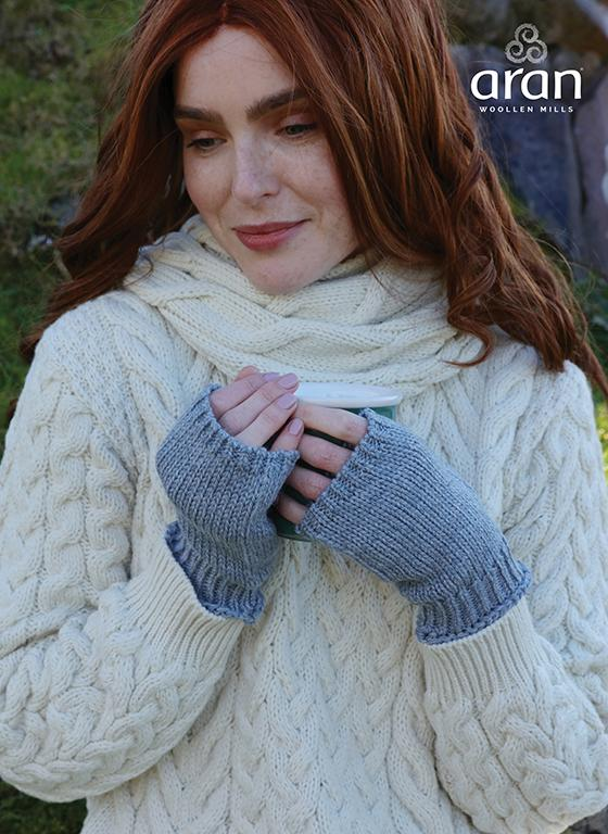 Ladies Fingerless One Size Merino Wool Mitts by Aran Mills - 6 Colours