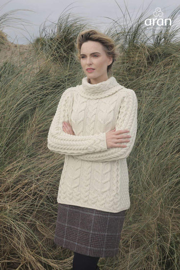 Ladies Cowl Neck Wool Sweater by Aran Mills - Cream