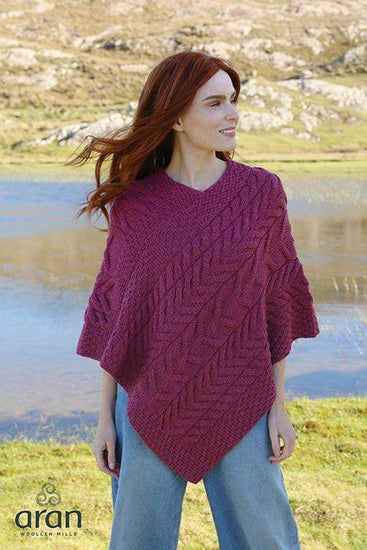 Ladies Merino Wool Large Weave Poncho by Aran Mills - 8 Colours