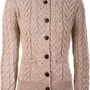 Ladies Supersoft Merino Wool Cable Crew Cardigan by Aran Mills - 4 Colours