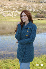 Ladies 3 Button Long Merino Wool Cardigan by Aran Mills - 3 Colours