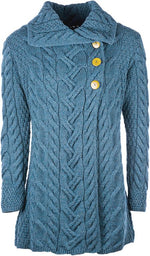 Ladies 3 Button Long Supersoft Merino Wool Cardigan by Aran Mills - 3 Colours