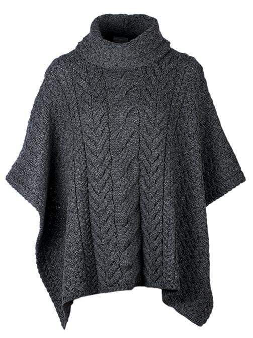 Ladies Cowl Neck Wool Poncho by Aran Mills - 6 Colours