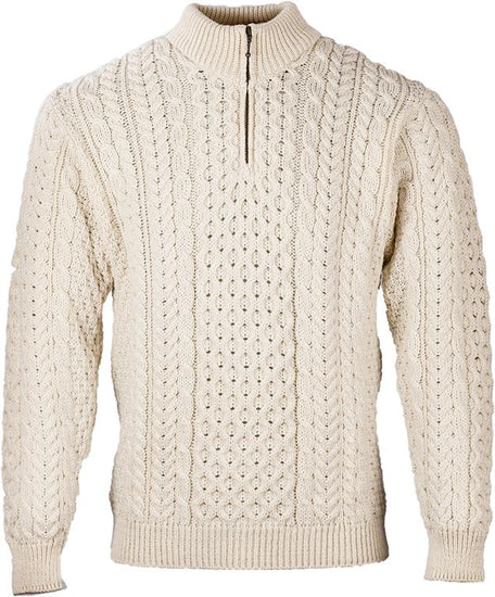 Mens Zip Neck Merino Wool Jumper by Aran Mills - Cream