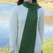 Merino Wool Long Cable Knit Scarf by Aran Mills - 4 Colours