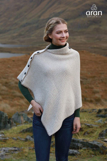 Ladies Herringbone Wool Poncho by Aran Mills - 3 Colours