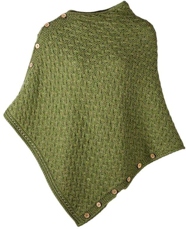 Ladies Wool Cable Knit Button Poncho by Aran Mills - 3 Colours