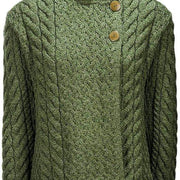 Ladies Supersoft Merino Wool Asymmetrical Cable Cardigan by Aran Mills - 5 Colours