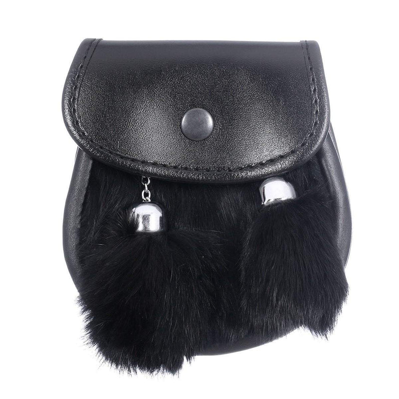 Children's Plain Semi Dress Black Rabbit Fur Sporran