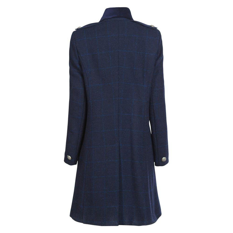 Ladies Double Breasted Harris Tweed Coat - Dark Navy and Blue Check