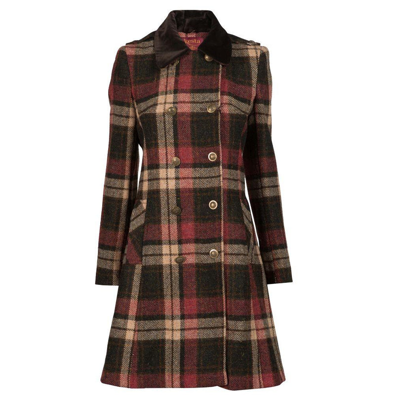 Ladies Double Breasted Harris Tweed Coat - Brown/Red Check