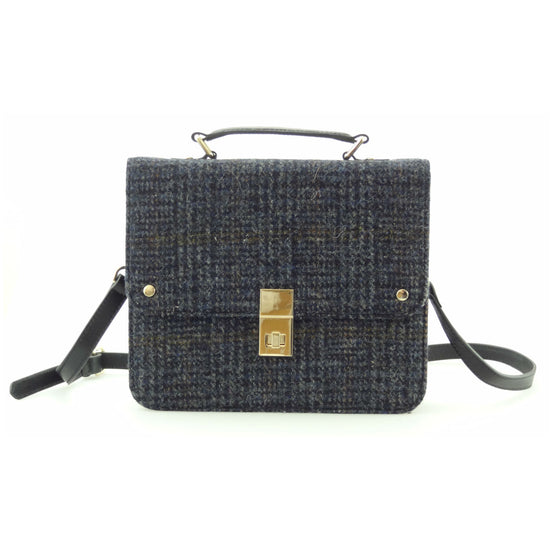 Harris Tweed and Leather Jessica Square Bag - Grey/Black Check