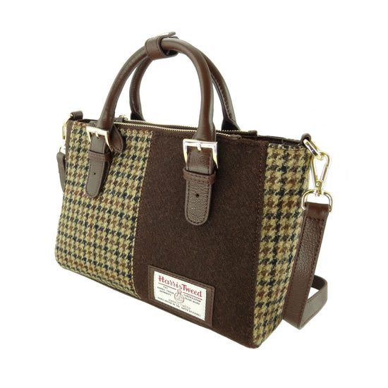 Harris Tweed and Leather Olivia Panel Bag - Brown/Brown Dogtooth