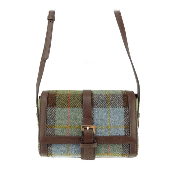 Harris Tweed and Leather Jemima Mini Bag - Green/Blue Check