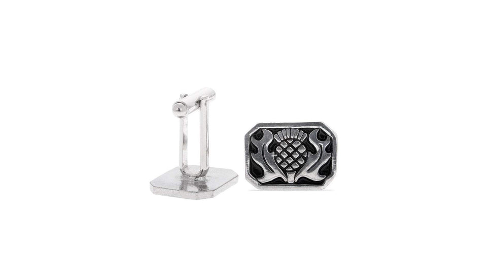 Mens Cufflinks in Scottish Thistle Design  Pewter and Black Enamel