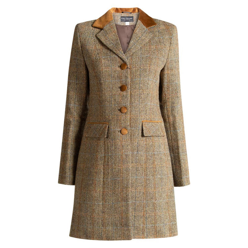 Harris Tweed Ladies Coat - Sophie - Light Brown Herringbone