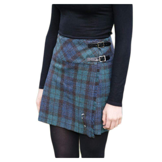 Shetland Wool Ladies Billie Kilt - Isobel - Black Watch Antique