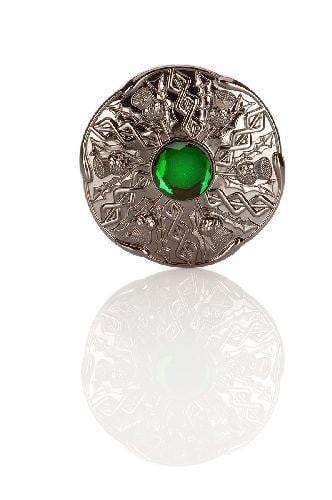 Jewel Thistle Plaid Brooch In Black Chrome Finish With Green Stone