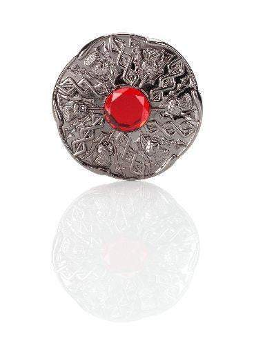 Jewel Thistle Plaid Brooch In Black Chrome Finish With Red Stone