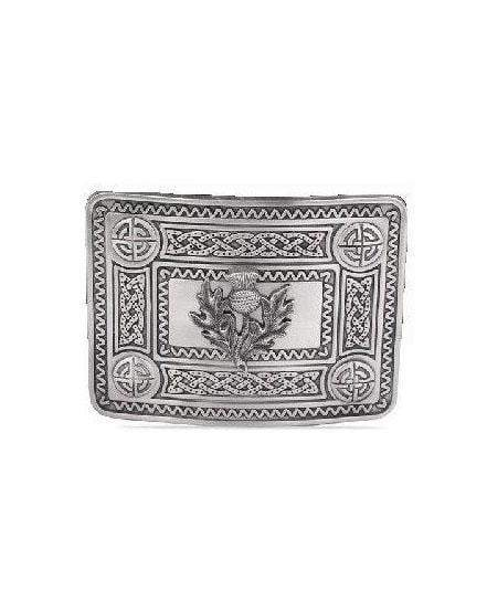 Thistle Celtic Knot Belt Buckle - Antique Finish