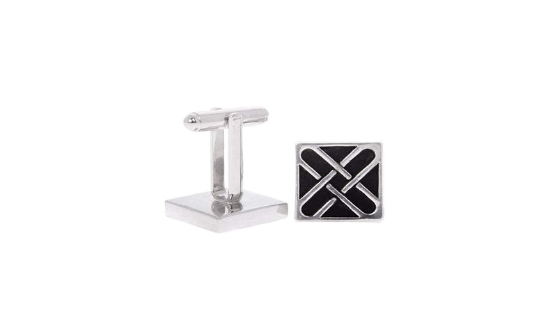 Cross Pattern Chrome Cufflinks
