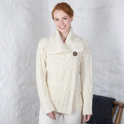 Ladies One Button Cardigan by Aran Mills - 6 Colours