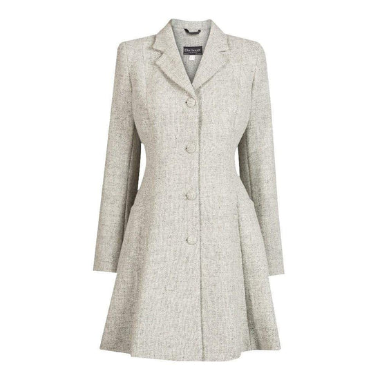 Ladies Harris Tweed Coat - Light Grey Zoe