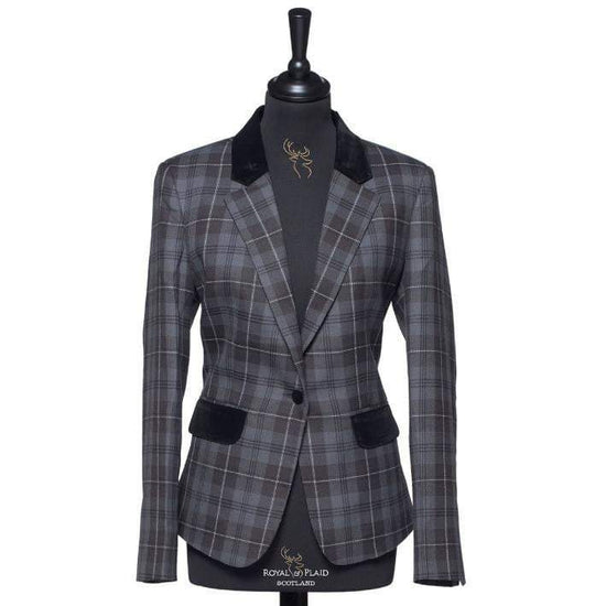 Ladies Tartan Blazer in Grey Granite
