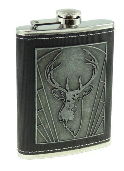 8oz Embossed Stag Hip Flask
