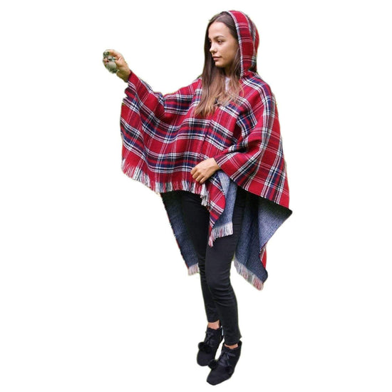 Ladies Hooded Tartan Poncho - Red