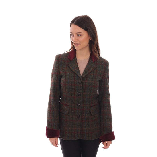 Ladies Harris Tweed Jacket - Maggie  - Brown/Red Check - Limited Sizes