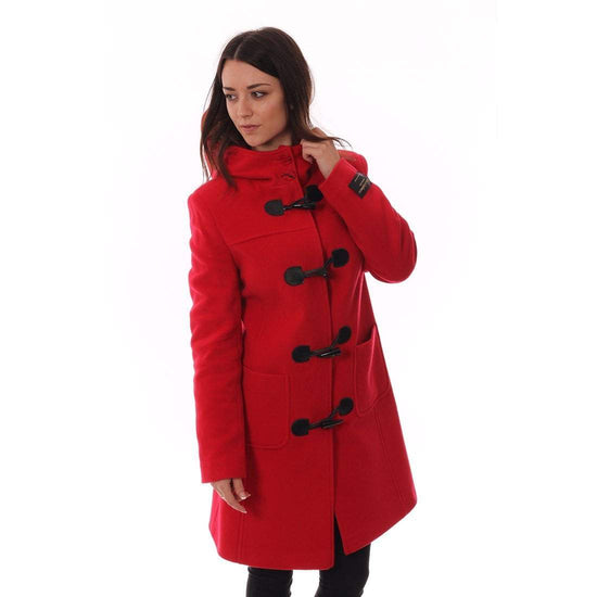 Ladies Cashmere Duffle Coat in Red
