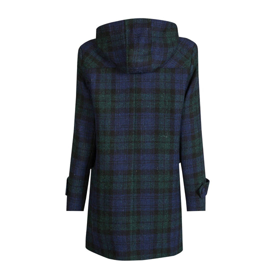 Ladies Harris Tweed Duffle Coat in Black Watch