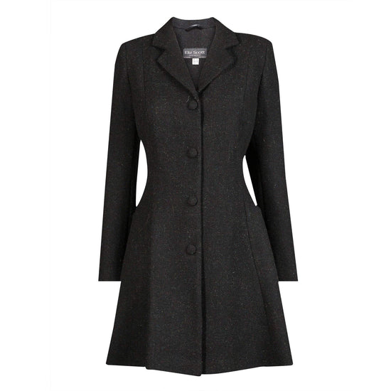 Ladies Harris Tweed Coat - Dark Grey Zoe