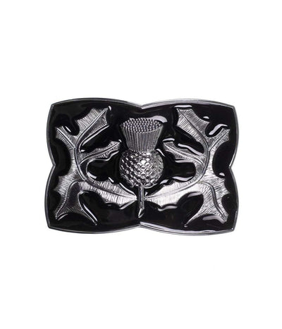 Chrome Thistle Relief Black Enamel Buckle