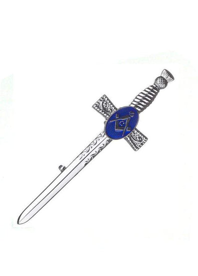 Blue Masonic Emblem Broadsword Kilt Pin - Chrome/Antique Finish