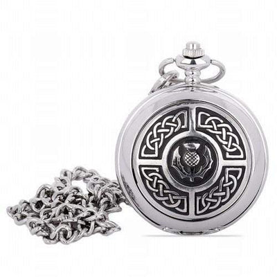 Mechanical Pocket Watch - Celtic Knots Around Thistle Crest