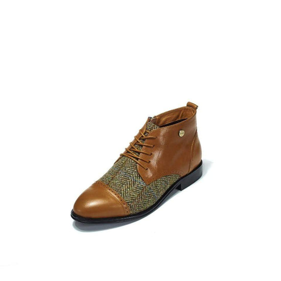 Ladies Harris Tweed Flat Ankle Boot by Snow Paw - Chestnut