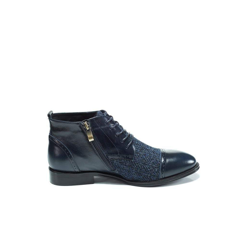 Ladies Harris Tweed Flat Ankle Boot by Snow Paw - Navy