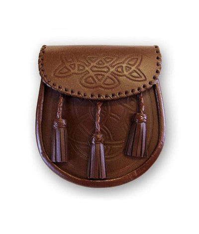 Brown Celtic Embossed Leather Sporran