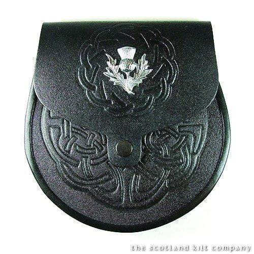 Thistle Crest Embossed Leather Sporran