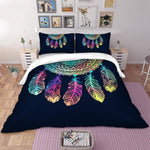 Colorful Feathers Bed Cover