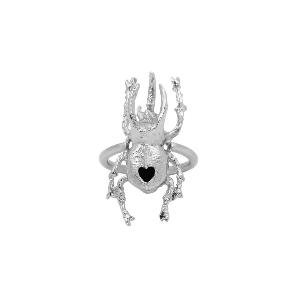 Anillo Beetle Heart Medium Plata