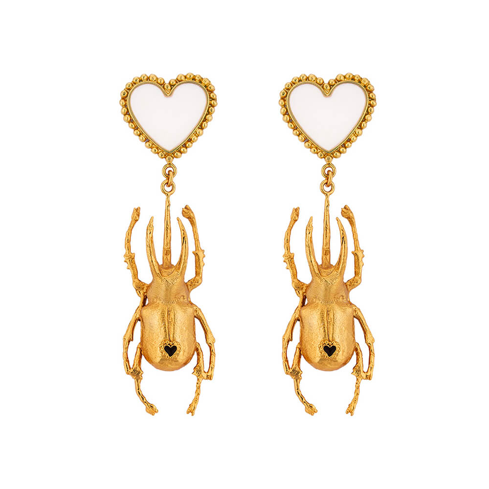 Aretes Beetle Double Heart