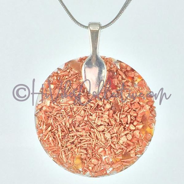 16 Point Star Circular Orgone Pendant with Carnelian and Copper Shavings (C-0020)-HiVibes Collective