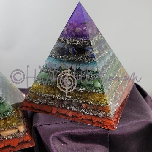 7 Chakra Layered Orgone Pyramid (PY-0024)-HiVibes Collective
