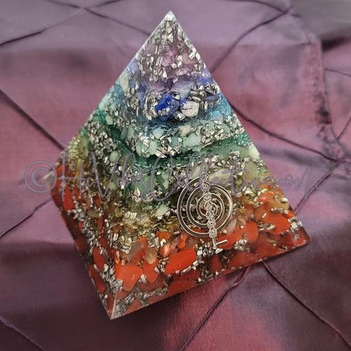 7 Chakra Layered Orgone Pyramid (PY-0025)-HiVibes Collective